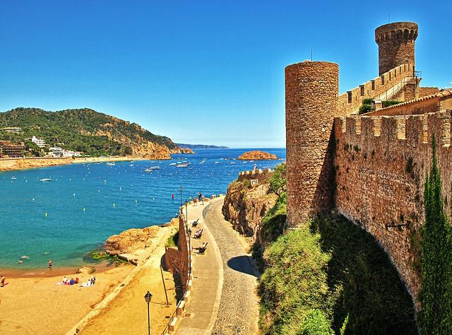 The Beach & Castle Walls - Tossa De Mar