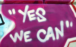 "scare quotes around ""yes we can"" 