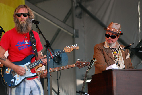 Anders Osborne and Dr. John at the Voices of the Wetlands show, Jazz Fest 2010.  Photo by WWOZ.