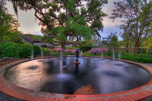 sunset sculpture art sc water fountain gardens landscape tripod southcarolina hdr gitzo murrellsinlet brookgreengardens photomatix 3exposure arcatech tokinaatx116prodx gt2531