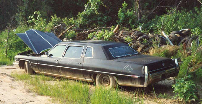 1972 Cadillac limo   one i saw in a salvage yard, looks good