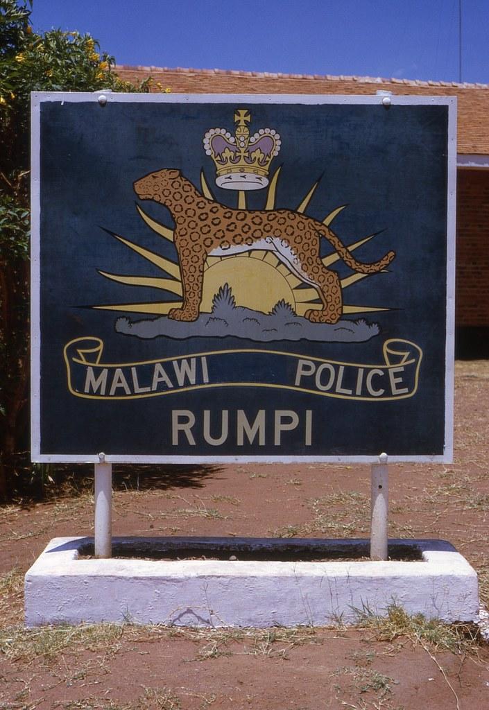 Rumphi Police Station sign (British spelling) - November 1