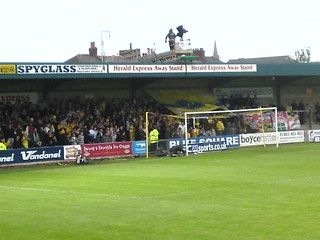 Plainmoor Stadium: The Away End (uniquely filled with home supporters)