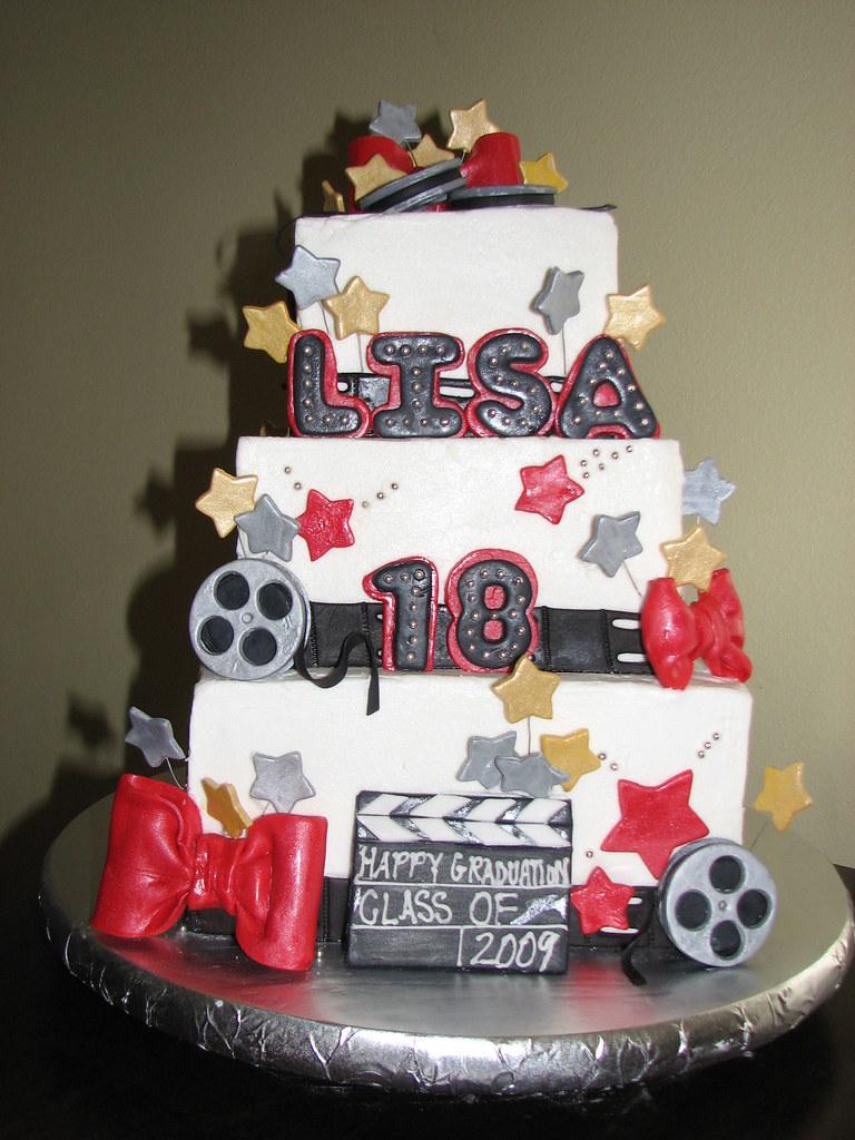 Groovy Graduation 18Th Birthday Hollywood Theme Cake Stephs Cakes Personalised Birthday Cards Akebfashionlily Jamesorg