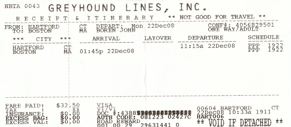 Greyhound Bus Ticket - Hartford, CT to Boston, MA   As part