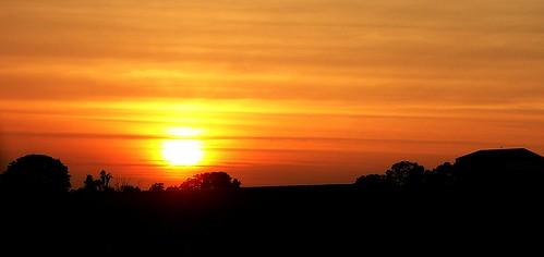 trees sunset red orange sun yellow clouds barn geotagged sundown indiana setting silouhette lateafternoon earlyevening summersunset thesettingsun edgeoftown southcentralindiana corydonindiana geo:lat=38254392 geo:lon=86047325