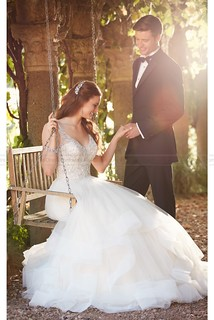 Essense of Australia Beaded Strap Wedding Dress With Full Textured Skirt Style D2259 | by fashion_feel