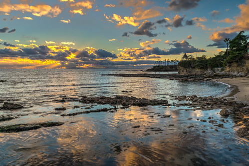 california hdr lagunabeach nikon nikond5300 pacificocean beach clouds evening geotagged ocean outdoors palmtree palmtrees reflection reflections rocks sand seascape sky sunset water unitedstates