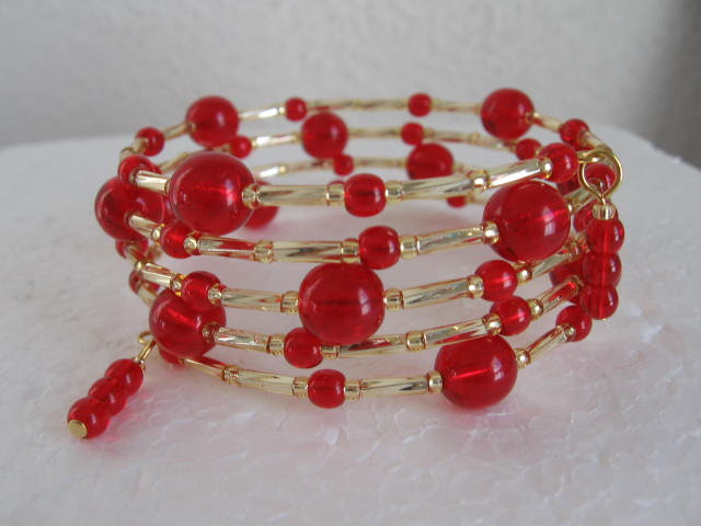 Memory Wire Bracelet - Red Ball