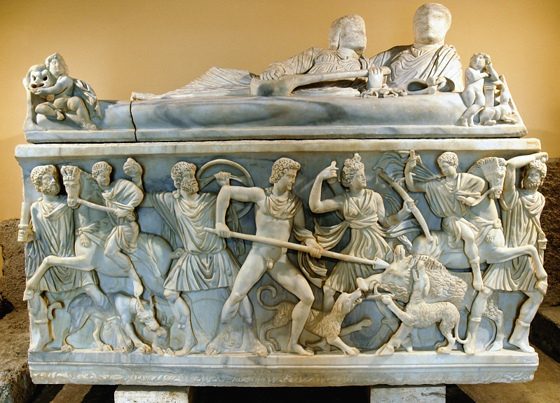 Meleagro uccide il cinghiale, sarcofago romano, Roma, Musei Capitolini.