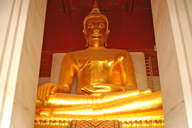Buddha image at Wat Mongkol Bophit in Ayutthaya, Thailand