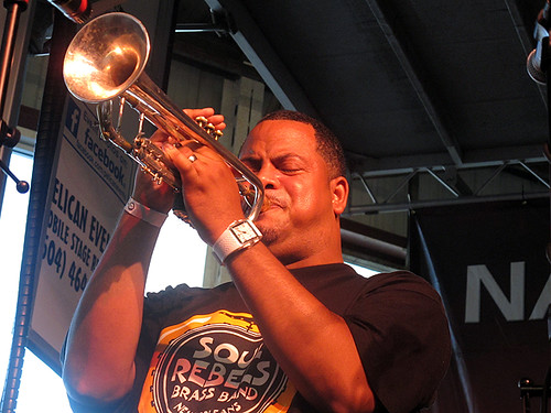 Marcus Hubbard leads the Soul Rebels at Gulf Aid.  Photo by Jennifer Leslie.