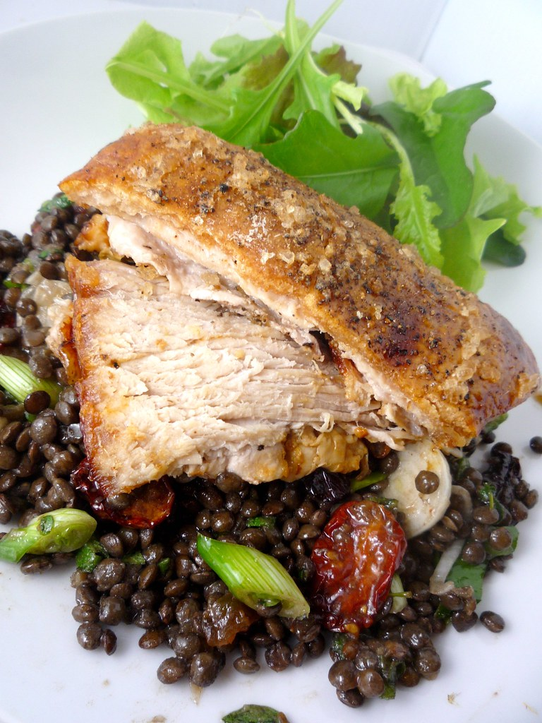 Slow Roasted Pork Belly with Lentils and Slow Roasted Toma ...
