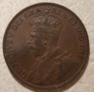 NEWFOUNDLAND, GEORGE V ---LARGE ONE CENT 1936 b