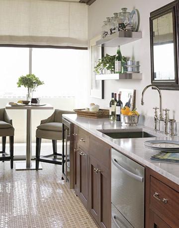 Elegant + modern white kitchen: Marble counter + open shelves + Farrow & Ball's 'Shaded White'