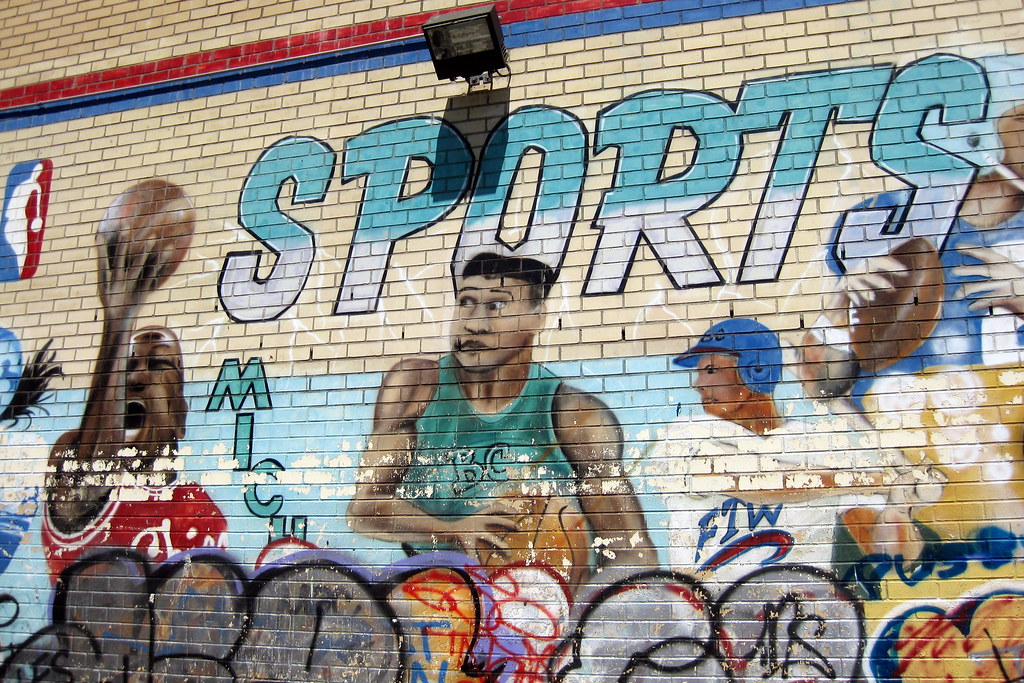 sports physical form nyc  NYC - LES: Sports Mural | A mural by Chico on Columbia Stree ...