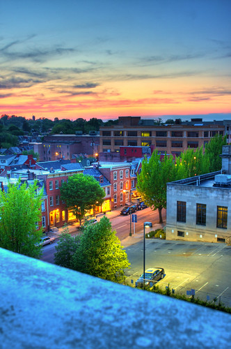 road street city windows roof sunset sky people sun color brick beautiful car wall night clouds fence buildings dark lights town high day view pennsylvania top parking pa lancaster hdr highdynamicrange