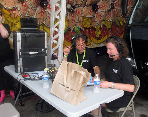 WWOZ Hosts Dean Ellis and Suzanne Corley at the 'OZ broadcast area at Gulf Aid