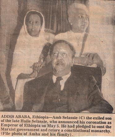 Crown Prince Asfaw Wossen Proclaimed Emperor Amha Selassie