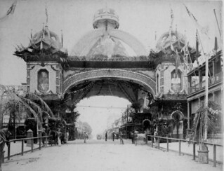 Decorated arch over George street for the royal visit, Brisbane