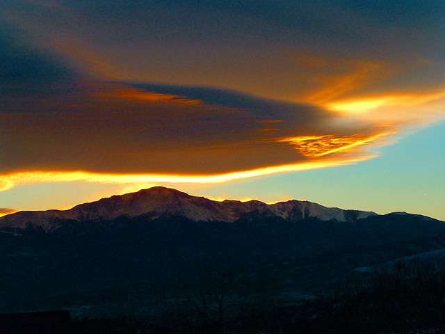 SUNSET CLOUDS and PIKES PEAK