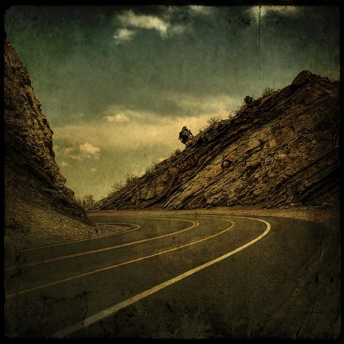 sky clouds colorado rocks pavement cliffs ridge aged curve textured roadway layered fauxvintage hogback dakotaridge squareformate kartpostal famoussquarecaptures texturedsquare