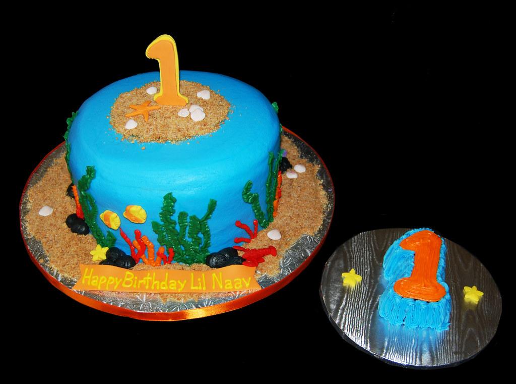 Super Ocean Themed First Birthday Cake And Smash Cake Dana Brown Flickr Funny Birthday Cards Online Hendilapandamsfinfo