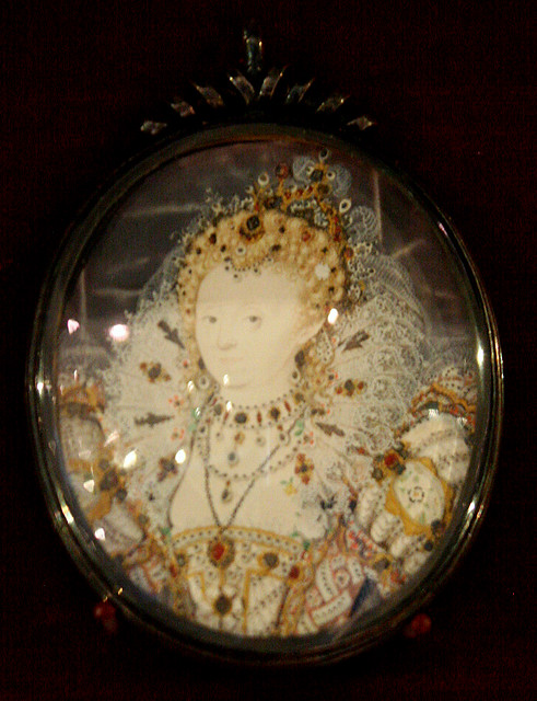 16C Miniature Portrait of Queen Elizabeth I. by Nicholas Hilliard