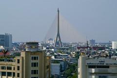 Rama VIII bridge over the Chao Phraya river seen from the Golden Mound in Bangkok, Thailand