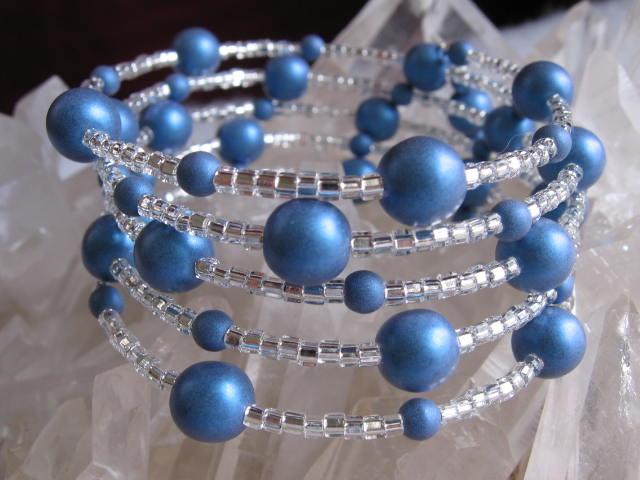 Memory Wire Bracelet - Blue Satin Ball