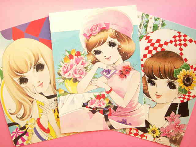 Kawaii Japanese Shojo Manga Illustrations Postcards Retro
