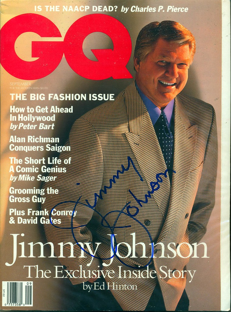September 1994, Autographed GQ Magazine by Jimmy Johnson