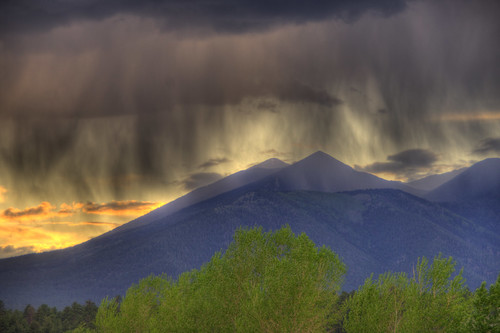 sunset arizona mountain storm rain clouds flagstaff peaks hdr photomatix pentaxk20d