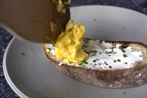softly scrambled egg, toast, chives | by smitten kitchen