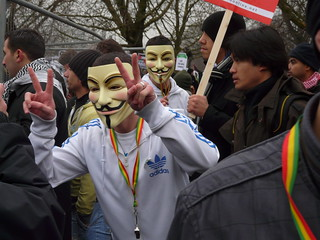 Stop the Slaughter in Palestine Demo- Anonymous   by Loz Flowers