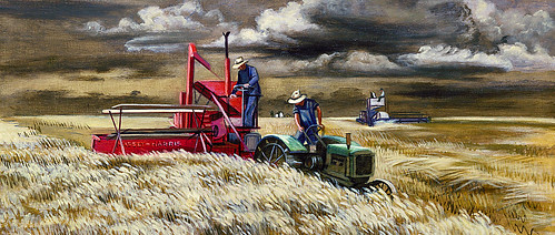 Joe Jones: Men and Wheat (mural study, Seneca, Kansas Post Office), 1939