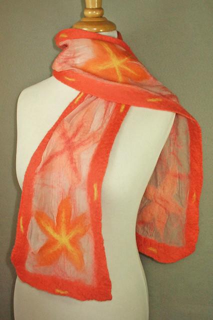 Coral Blossom Nuno scarf