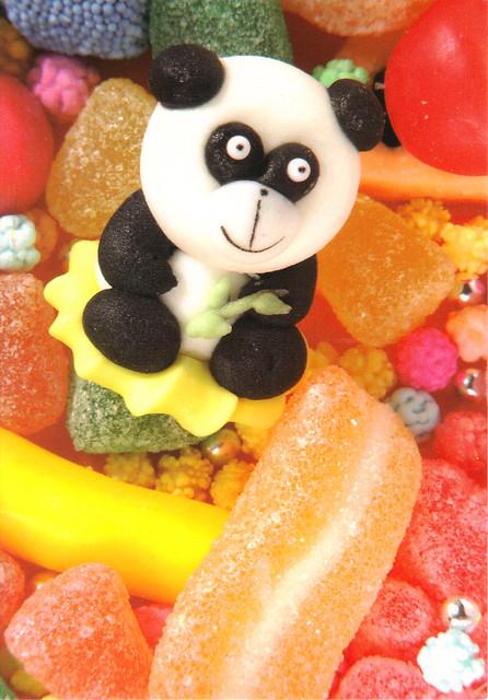 Candy Shaped Panda Bear Postcard