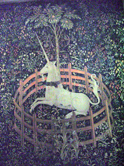 The Unicorn Tapestries Room: The Unicorn in Captivity (detail).