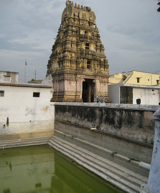 Temple Tank and the Rajagopuram (from inside the temple)