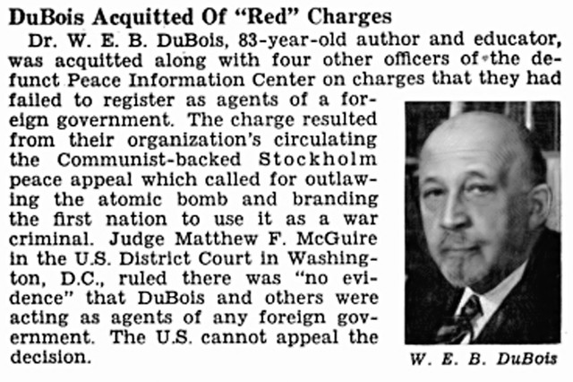 Dr. W.E.B. DuBois Acquitted of Charges By Communists - Jet Magazine, December 6, 1951