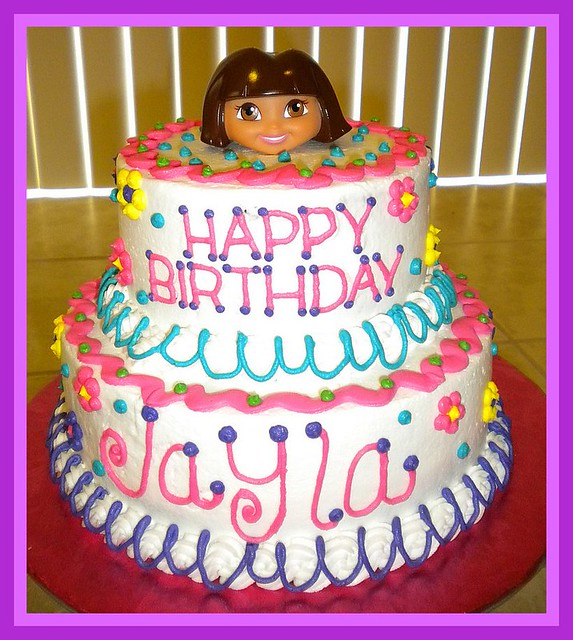 Cool Dora The Explorer Birthday Cake Tinkabellz17 Flickr Birthday Cards Printable Nowaargucafe Filternl
