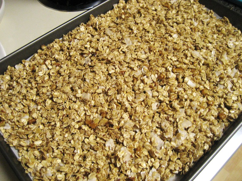 granola uncooked in pan