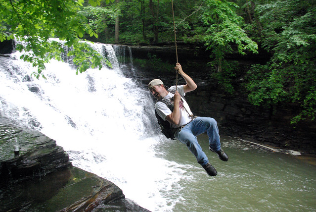 Andy Lane on the Rope Swing at Window Cliffs Falls, Putnam Co, TN