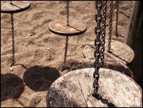 swinging steps on a playground