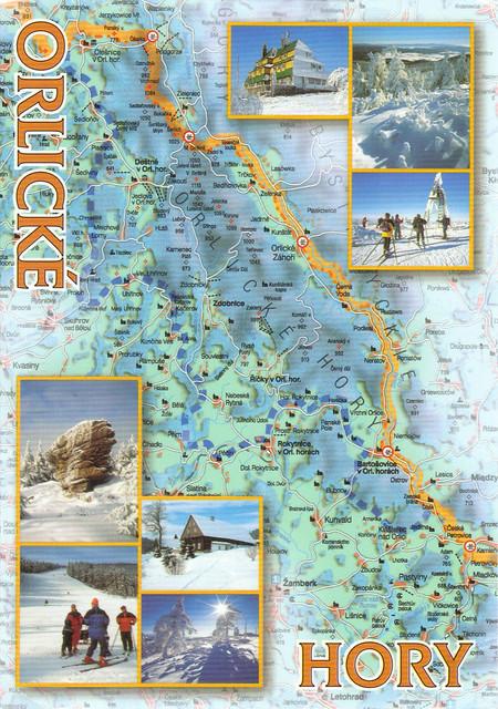 Czech Repubilic Orlicke Hory Map Postcard