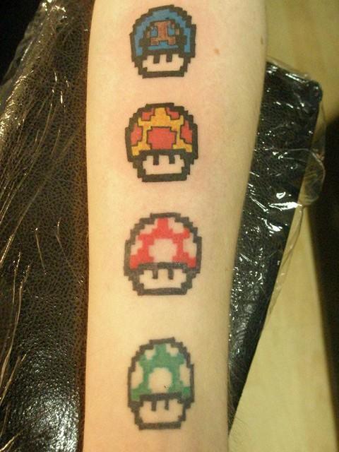 Mario Mushroom Tattoo Done Heaven N Hell Tattoos Pie Flickr