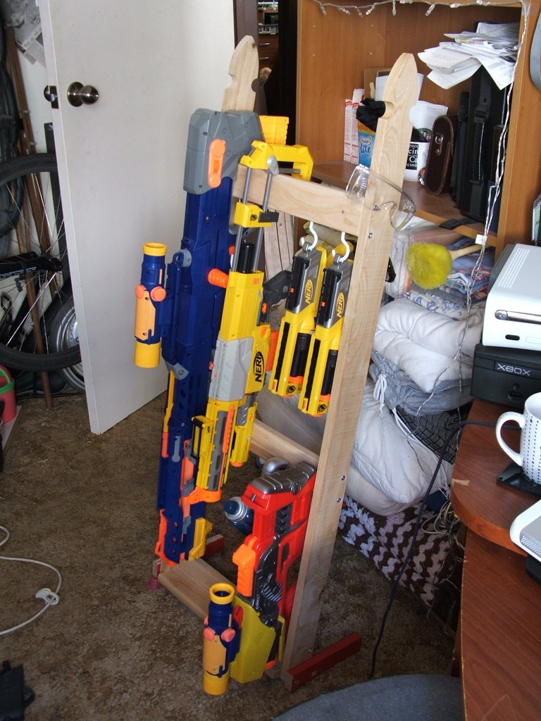 Nerf Gun Rack The Rack Has Storage For Most Types Of