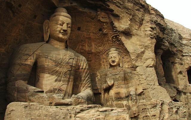 caved buddhas