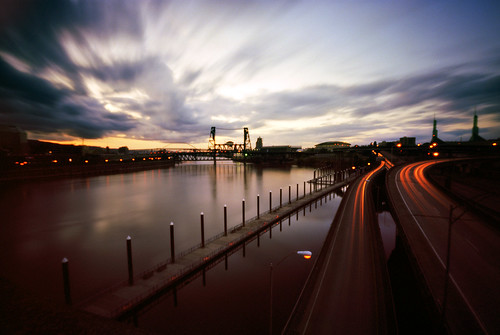 sunset urban film oregon portland evening downtown cityscape waterfront traffic i5 pinhole pacificnorthwest steelbridge willametteriver zeroimage pinscape zero69 burnsidebridge bluemooncamera worldwidepinholeday zebandrews zebandrewsphotography